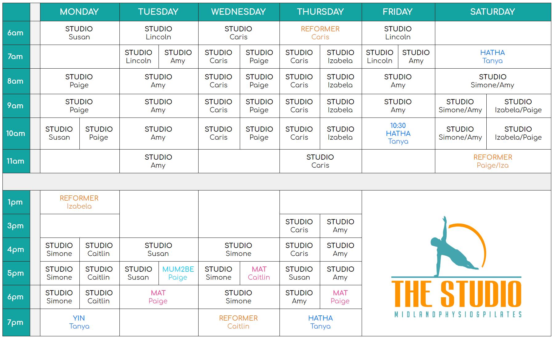 Mat and Studio Pilates Timetable - The Studio Midland