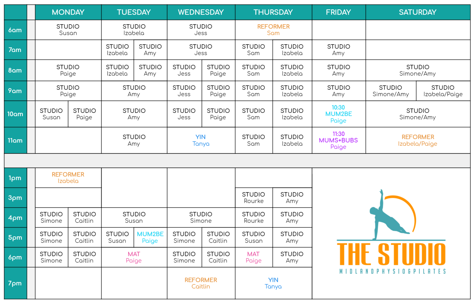 Mat and Studio Pilates Timetable - The Studio Midland