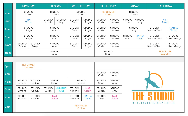 Studio and Mat Pilates Timetable - The Studio Midland