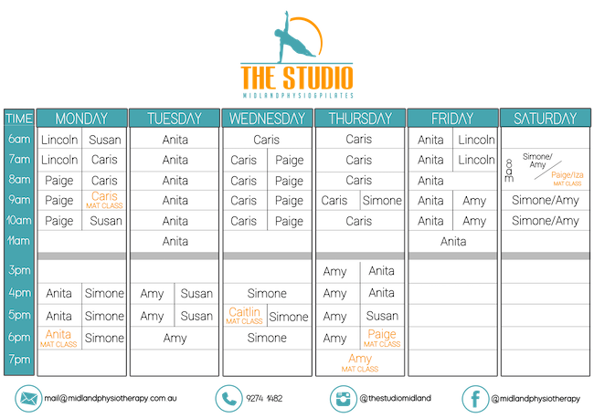 Studio and Mat Pilates Timetable - The Studio Midland